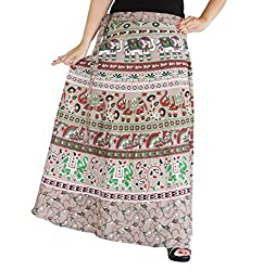 Aura Life Style Women Printed Cotton Long Wrap Around Skirt (ALSK5034W, Grey, Free Size)