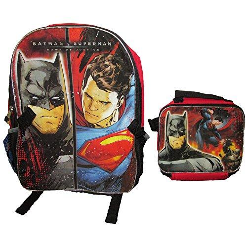 DC Comics Batman v Superman Backpack w/ Detachable Lunch Bag Set - Red/Black
