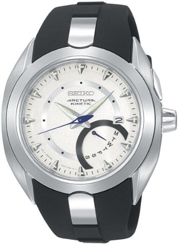 Seiko Kinetic Arctura Retrograde Silver Tone Dial Black Rubber Strap