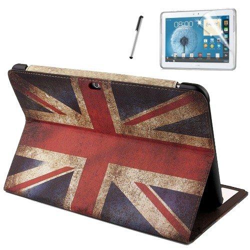 gada - Handyhülle für Samsung Galaxy Tab 2 10.1 P5100/P5110/P5113 Leder-Imitat Tasche - mit praktischer Standfunktion in edlem britischen Design - Hülle Flip Schutzhülle Tabletcase Leder-Imitat Tasche Case Etui Cover mit England Flagge Fahne GB UK Großbritannien Union Jack - inkl. kostenloser Displayschutzfolie und Touch-Stift Touchpen