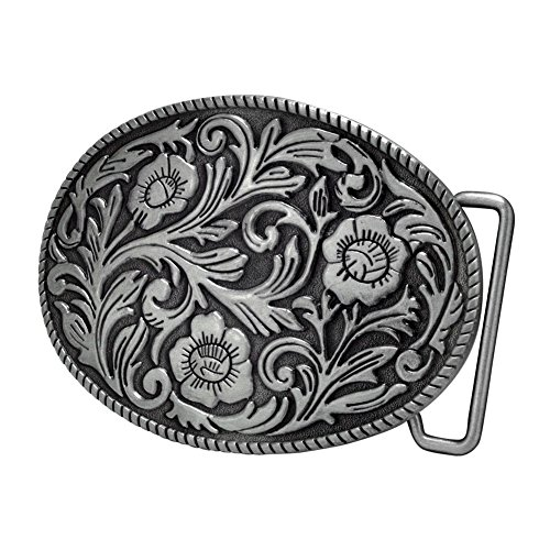 Buckle Rage Adult Womens Ornate Flowers Western Cowgirl Oval Belt Buckle Silver