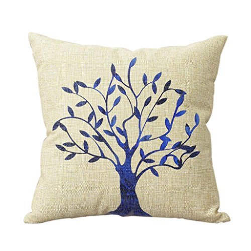 URDesigner Purplish Blue Tree Linen Decorative Cushion Covers Tree Throw Pillow Cases for Sofa Valentine's Day Gift Hot Sale Closure Hidden Zipper 18*18 Inches