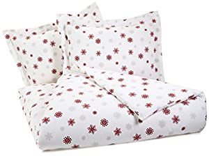 Pinzon Lightweight Cotton Flannel Duvet Set - Full/Queen, Snowflake Bordeaux