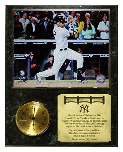 Derek Jeters Last Final Career Hit At Yankee Stadium Clock Plaque front-940949