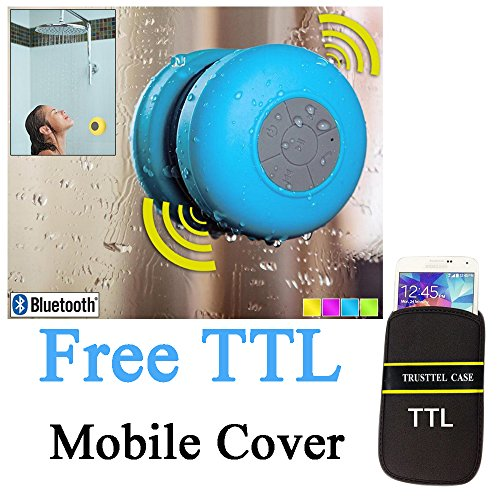 Everything Imported (Free TTL Mobile Cover) Waterproof Bluetooth Wireless Speaker with Strong Suction Cup for Showers, Bathroom, Pool, Boat, Car, Beach, Outdoor etc. / Optimized Buttons for Easy Control / Amazingly Powerful & Crystal Clear Sound / Compatible with All Devices with Bluetooth Capability + 06 hours Playtime Rechargeable Battery / with Built-in Mic for use as a Powerful Hands-free Speakerphone and with FM Radio Blue (Random Color)
