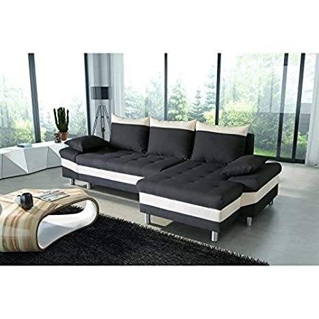 Pegase canapé d'angle convertible tissu 5 places - 277x144/96x90 cm - noir et blanc