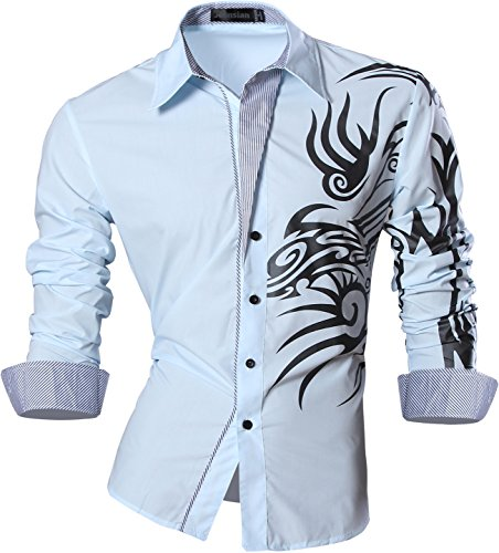 jeansian Uomo Camicie Maniche Lunghe Moda Men Shirts Slim Fit Casual Long Sleves Fashion Z001 LightBlue XL