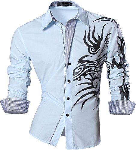 jeansian Uomo Camicie Maniche Lunghe Moda Men Shirts Slim Fit Casual Long Sleves Fashion Z001 LightBlue XL