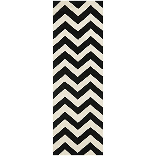 Safavieh Chatham Collection CHT715A Handmade Ivory and Black Wool Area Rug, 2 feet 3 inches by 5 feet (2'3
