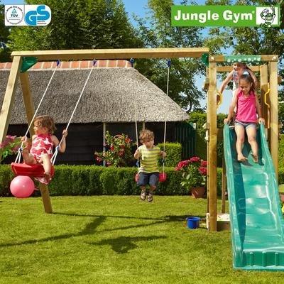 Jungle Gym Zoes TOWER - Spielturm Set mit Schaukel und Rutsche - Grün