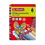 Herlitz 8648008 Wachsmalstifte 10 Stück, unterschiedliche Farben mit Gummigriffzone von Herlitz