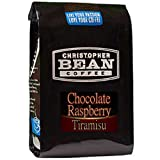 Christopher Bean Coffee Flavored Decaffeinated Ground Coffee, Chocolate Raspberry Tiramisu, 12 Ounce