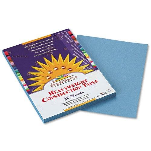 SUNWORKS 7603 Construction Paper, 58 lbs., 9 x 12, Sky Blue, 50 Sheets/Pack - 1