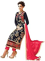 Attractive Blue & Pink Colored Georgette Straight Suit
