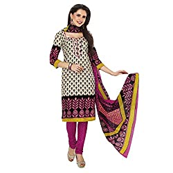Rajnandini Women's Pink&Cream pure cotton Printed Unstitched salwar suit Dress Material (Free Size)