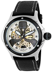 Stuhrling Original The Alpine Men's Automatic Watch with Silver Dial Analogue Display and Black Leather Strap 4AT.331510