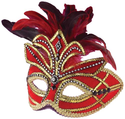 Forum Mardi Gras Half Mask With Feathers