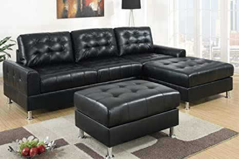 Furniture2go F7302 Black Finish Bonded Leather Sectional Sofa - Reversible Left/Right Chaise, 2-Seat Sofa, Ottoman F7303 Sold Separately