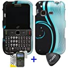 3 items Combo: ITUFFY (TM) LCD Screen Protector Film + Case Opener + Black Blue Auroa Wave Swirl White Flower Vine Design Rubberized Snap on Hard Shell Cover Faceplate Skin Phone Case for Samsung S390G (Straight Talk / Net 10 / Tracfone)