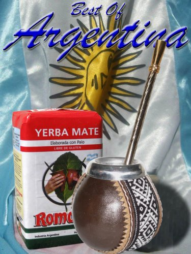 Argentina Mate Kit: Natural Gourd Covered By 100% Genuine Leather + Nickel Straw (W/Filter) + Yerba Mate Herb Tea