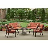 Brown Modern 5 Piece Metal Patio Conversation Bistro Set with Wood Burning Fire Pit | Perfect Contemporary Deep Seating 2 Loveseat & 2 Chairs & 6 Pillows & Table Furniture Set for Your Home Outdoors by the Grill, BBQ, Garden, Gazebo, Firepit or Deck