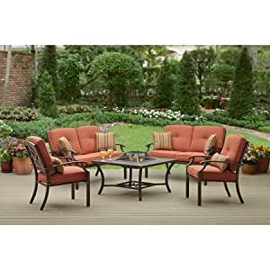 Brown modern 5 piece metal patio conversation bistro set with wood burning fire pit - Must have pieces for your patio furniture ...