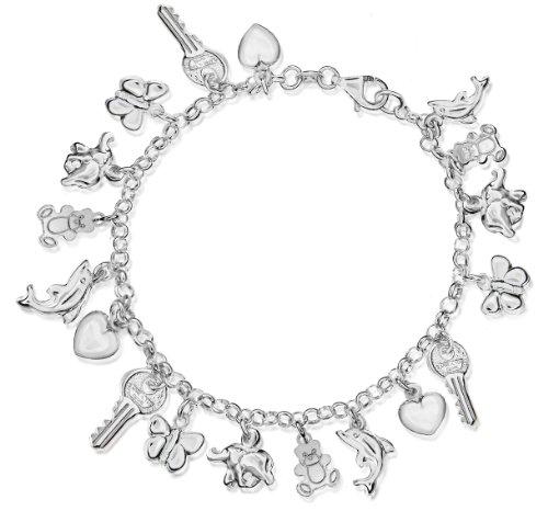 Belcher Charm Bracelet, Silver, 19cm Length, Model 8.24.4412