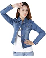 Women Ladies Girls Slim Fitted Button up Long Sleeve Denim Blue Jacket Jean Jacket
