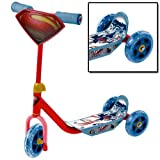 Superman Man of Steel 3 Wheel Tri Push Kids Childrens Scooter with Anti Slip Surface Outdoor Toy Gift