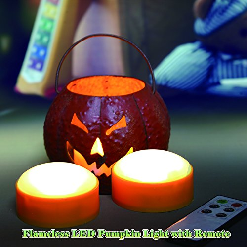2 LED Pumpkin Lights with Remote and Timer, Jack-O-Lantern