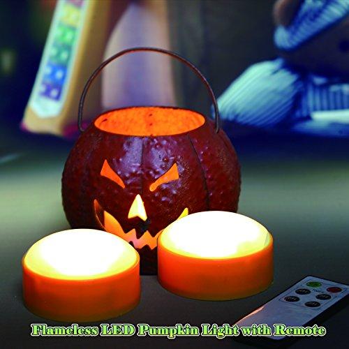 2 LED Pumpkin Lights with Remote and Timer, Jack-O-Lantern