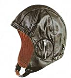 Aviator Black Leather Motorcycle Cap Vintage WWII Hat 2XLarge by Leather Factory Outlet