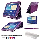 Foxnovo® Polka Dot Pattern PU Case For Samsung Galaxy Tab 3 10.1 P5200 P5210 & Stylus Pen & Screen Protector & Cleaning Cloth (Purple)