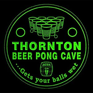 4x ccqr2263-g THORNTON Beer Pong Cave Game Bar Beer 3D Drink Coasters
