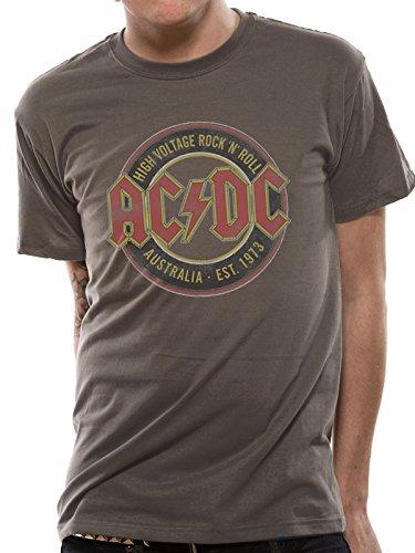 Mercanzie Licenza Ufficiale AC/DC - AUSTRALIA EST 1973 T-Shirt (Grigio Scuro), X-Large