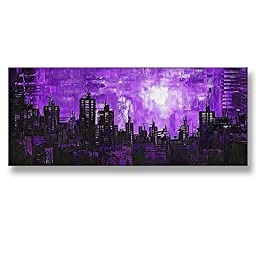 Neron Art - Hand painted Abstract Oil Painting on Rolled Canvas for Living Room Wall Decor - Purple Night 48X20 inch
