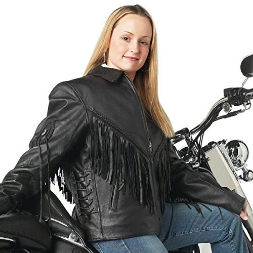 Diamond Plate Solid Genuine Leather Ladies Motorcycle Jacket has conchos fringe a shirt co GFLADMJ3X
