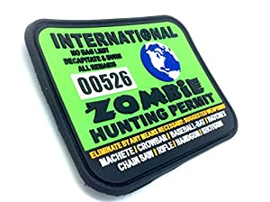 Permis de Chasse de Monde Zombie International Vert PVC Grand Airsoft Velcro Patch