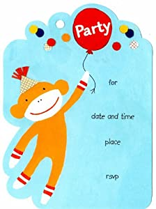Zoomerang by Mara Mi Set of 8 Kids Sock Monkey Birthday Party Invitations with Matching Thank You Cards