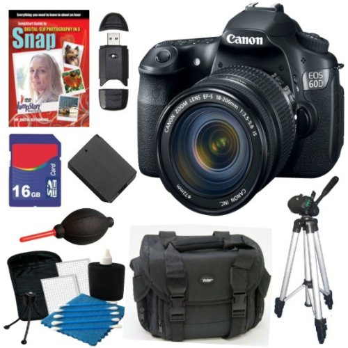 Canon Eos 60D 18 Mp Cmos Digital Slr Camera With Ef-S 18-200Mm F/3.5-5.6 Is Standard Zoom Lens + 16Gb Deluxe Accessory Kit