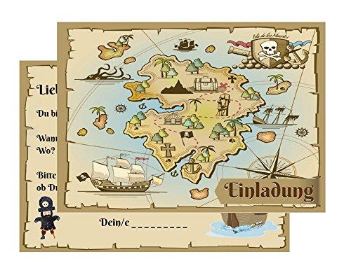 Set-10-Einladungskarten-Kindergeburtstag-Pirat-Schatzkarte-Schatzsuche-Piratenparty-Geburtstagseinladungen-Einladungen-Geburtstag-Kinder-Jungen-Mdchen-10-Karten-mit-10-Umschlgen-Briefumschlgen