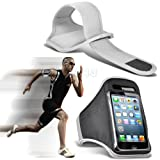 White iPhone 5-5s-5c Running Armband Case Cover Holder for Cycling, Jogging, Fitness Training, Boot Camp, Exercise, Sports, Outdoor Activities, Gym Cases Covers and Accessories for New Apple iPhone 5-5s-5c by iChoose®