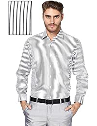 Paul Wilson Black & White Base Stripes Cotton Blend Full Sleeves Formal Shirt For Men (PFS-39)