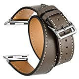 Valkit for Apple Watch Band - iWatch Bands 42mm Genuine Leather Strap Smart Watch Band Bracelet Replacement Wristband with Stainless Steel Adapter Clasp for Apple Watch 3 2 1, Double Tour - Brownness