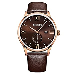 GOHUOS Men's Casual Quartz Analog Roman Numeral Second Day Leather Band Calendar Wrist Watch Coffee