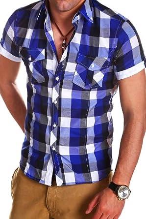 MT Styles - BH-499 - Chemise cintrée à carreaux - manches courtes - Bleu - S