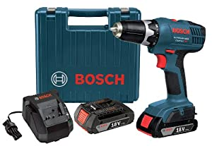 Bosch DDB180-02 18-Volt Lithium-Ion 3/8-Inch Cordless Drill/Driver Kit with 2 Batteries, Charger and Case
