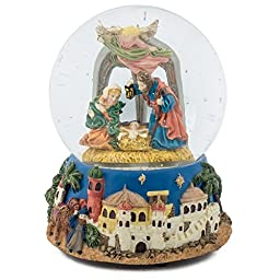 Holy Family Watching Nativity 100MM Christmas Music Water Globe Plays Classical Music Box Tune