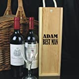 Personalised Wine Box - Best Man printed on the front of the box and then you can personalise with any name. Perfect to fill with a bottle of wine or champagne as a Wedding Thank You Gift. Please state the name required in the Gift Message Box. NOTE:Does