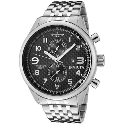 Invicta II Men's Quartz Watch with Black Dial Chronograph Display and Silver Stainless Steel Bracelet 0369